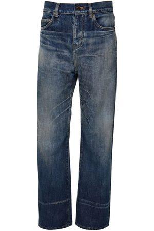 SAINT LAURENT 20cm Straight Cotton Denim Jeans