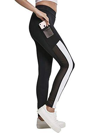 Urban classics Urban Classics Ladies Tech Mesh Striped Pocket Leggings, Black/White