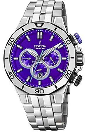 Festina Festina Unisex Erwachsene Chronograph Quarz Uhr mit Edelstahl Armband F20448/D