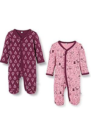Pippi 2er Pack Baby Mädchen Schlafstrampler mit Aufdruck, Langarm mit Füßen, Alter 4-6 Monate, Größe: 68, Farbe: Lila