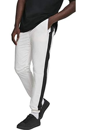 Urban classics Herren Jogginghosen - Herren Hose Side Striped Crinkle Track Pants Wht/Blk Größe: M
