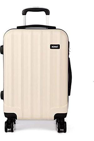 Kono Kono Zwillingsrollen Hartschale ABS Koffer Trolley Reisekoffer Rollkoffer Handgepäck (Beige