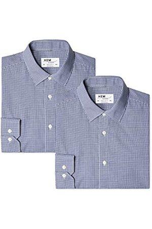 FIND Find. Herren Businesshemd 2 Pack Regular Fit Checked, 2