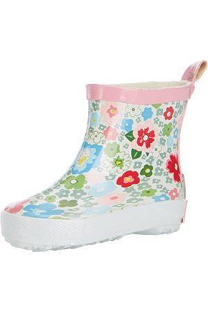 Playshoes Playshoes Kinder Halbschaft-Gummistiefel aus Naturkautschuk, trendige Unisex Regenstiefel mit Reflektoren, mit Blumen-Muster, Mehrfarbig (1-weiß)
