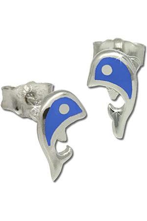 Teenie-Weenie Teenie Weenie Kinder-Ohrringe Delfin blau aus 925 Sterling SDO212B