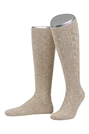 LUSANA Herren Kniebundstrumpf mit Zopf aus gekämmter Baumwolle mit Leinen Trachtenstrümpfe