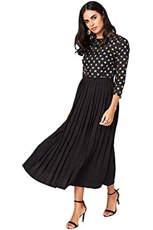 Little Mistress Damen Jemima Black Geo Emrboidery Midaxi Dress cocktailkleid