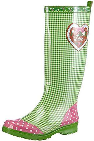 Playshoes Playshoes Damen Gummistiefel, trendiger Regenstiefel aus Naturkautschuk, mit herausnehmbarer Innensohle, mit Landhaus-Motiv ,Grün (grün 29)