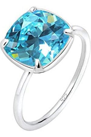 Elli Elli Ring Damen Bandring Geo mit Swarovski Kristall Blau in 925 Sterling