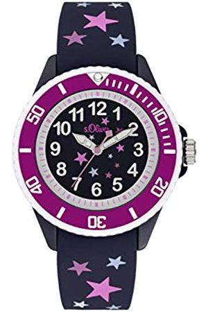 s.Oliver S.Oliver Mädchen Analog Quarz Uhr mit Silikon Armband SO-3926-PQ
