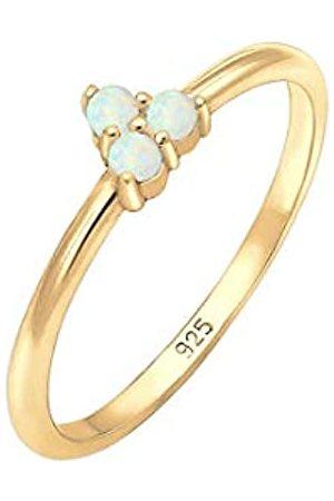 Elli Elli Ring Damen Bandring Opal Kreis Geo Trio Trend in 925 Sterling Silber