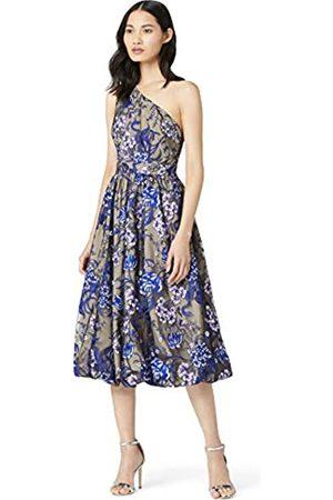 TRUTH & FABLE Amazon-Marke: Damen Kleid mit Blumenmuster und asymmetrischer Schulterpartie, 40
