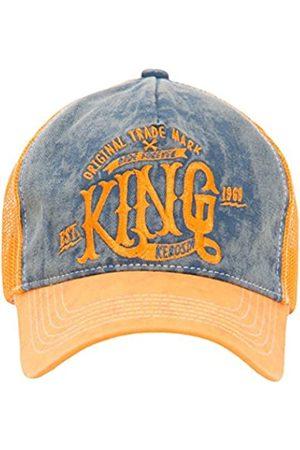 King kerosin Herren Caps - Herren Truckercap Mit Denim Einsatz Im Used Look Casual Used Stickerei Schnalle Trucker Cap King