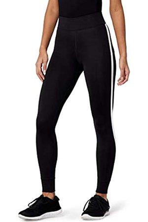 AURIQUE Amazon-Marke: Damen 7/8-Sportleggings mit Seitenstreifen (Black), 36