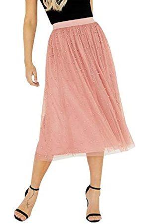 Little Mistress Damen Ambrose Apricot Pearl Detail Midi Skirt Rock