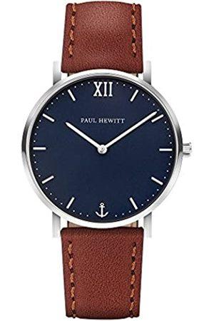 Paul Hewitt PAUL HEWITT Armbanduhr Männer Edelstahl Sailor Line Blue Lagoon - Herren Uhr Lederarmband (Braun), Silberne Herren Armbanduhr