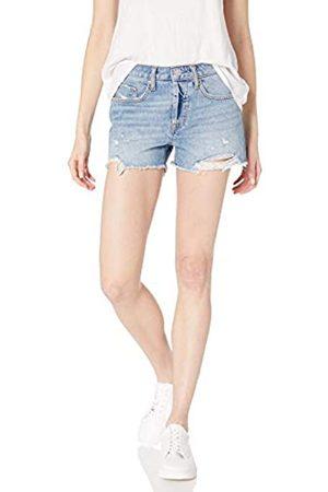 The Drop The Drop Sasha Damen Denim-Shorts, Mittelhohe Taille, Ausgefranster Saum