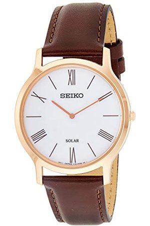 Seiko Seiko Herren Analog Solar Uhr mit Leder Armband SUP854P1