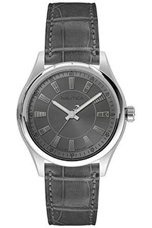 Nautica Herren Analog Quarz Uhr mit Leder Armband NAPBST001