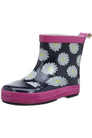 Playshoes Playshoes Kinder Gummistiefel aus Naturkautschuk, trendige Unisex Regenstiefel mit Reflektoren, mit Blumen-Motiv, Blau (marine/pink 372)
