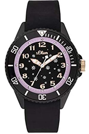 s.Oliver S.Oliver Mädchen Analog Quarz Uhr mit Silikon Armband SO-3924-PQ