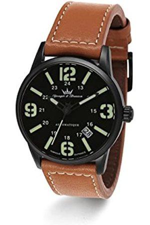 Yonger & Bresson Yonger & Bresson – YBH 8351 – 88 – X-Trem – Zeigt Herren – Automatische Analog – Zifferblatt schwarz Armband Leder braun