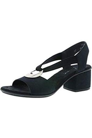 Rieker Rieker 64673 Damen Sandaletten,Sommerschuhe,offene Absatzschuhe,hoher Absatz,feminin,pazifik/schwarz/14