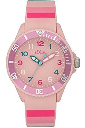s.Oliver S.Oliver Mädchen Analog Quarz Uhr mit Silicone Armband SO-4003-PQ