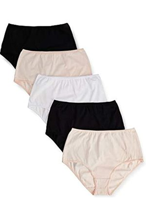 IRIS & LILLY Amazon-Marke: Damen Unterkleid Cotton Waist, 5er Pack, Mehrfarbig (Black/white/soft pink)