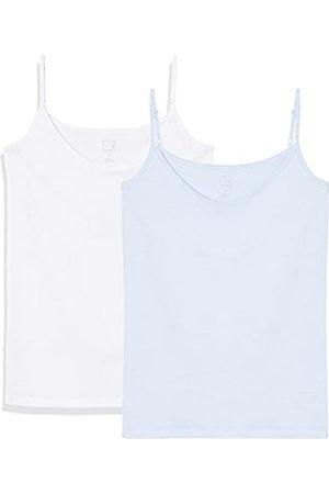 MERAKI Amazon-Marke: Top Damen mit V-Ausschnitt, 2er Pack, (Cashmere Blue/White), 40