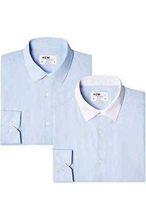 FIND Find. Herren Businesshemd 2 Pack Slim Fit Contrast Collar, 2er Pack