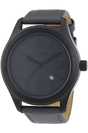 Just Watches Just Watches Herren-Armbanduhr XL Analog Quarz Leder 48-S5925BK-GR