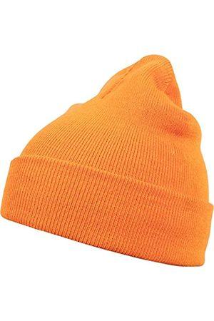 MSTRDS Herren Hüte - Unisex Strickmütze Basic Flap Beanie - einfarbige, neutrale Wintermütze für Damen und Herren ohne Druck und Stick, ohne Logo - Farbe neonorange