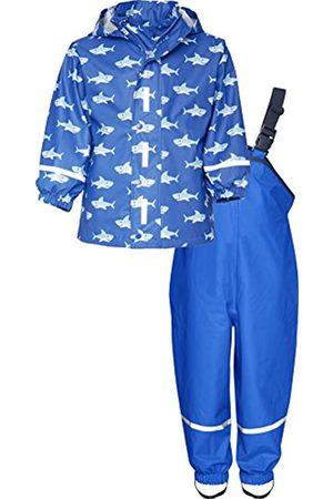 Playshoes Playshoes Kinder Regenanzug, zweiteiliges Regen-Set für Jungen mit abnehmbarer Kapuze, mit Hai-Muster
