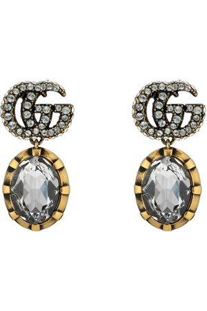 Gucci Ohrringe mit Doppel G und Kristallen
