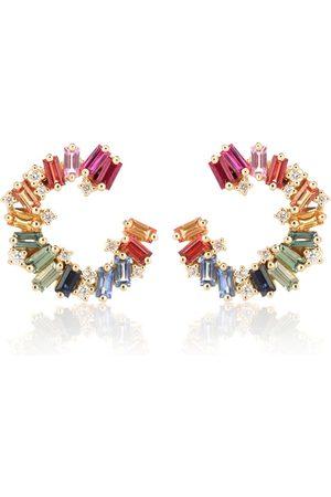 Suzanne Kalan Ohrringe Rainbow Spiral aus 18kt Gelbgold mit Diamanten und Saphiren