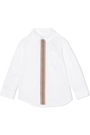 Burberry Popeline-Hemd mit gestreifter Blende