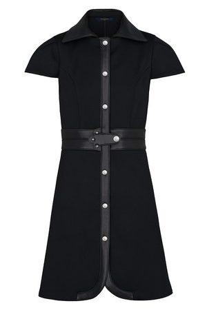 LOUIS VUITTON Damen Midikleider - Kleid mit Einsätzen aus Leder