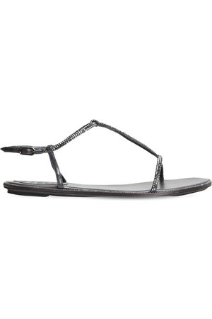 RENÉ CAOVILLA 10mm Hohe, Verzierte Sandalen Aus Leder & Satin