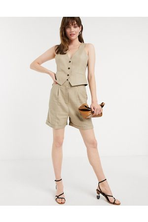 ASOS Dad-Anzug-Shorts in Taupe-Stone