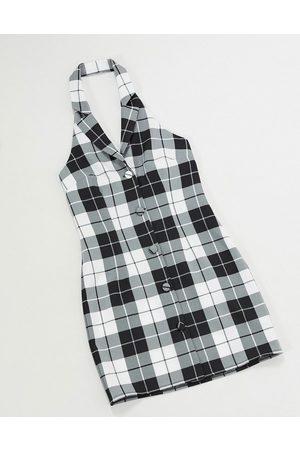 Vintage Supply Figurbetontes, kariertes Kleid im Stil der 90er Jahre