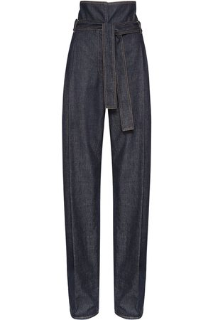Stella McCartney High Waist Cotton Denim Wide Leg Pants