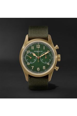 Mont Blanc 1858 Geosphere Limited Edition Automatic Chronograph 42mm Bronze and NATO Watch, Ref No. 119908
