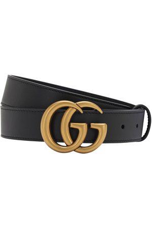 Gucci Herren Gürtel - 30mm Breiter Ledergürtel Mit Gg-schnalle