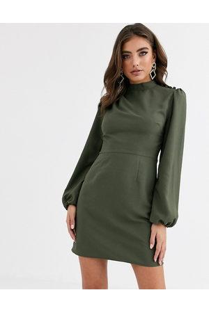 ASOS Hochgeschlossenes, langärmliges Minikleid in Khaki