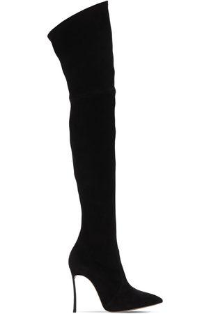 Casadei 100mm Hohe Stiefel Aus Stretch-wildleder
