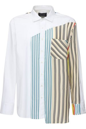 Botter Cotton Poplin Shirt W/striped Silk Panel