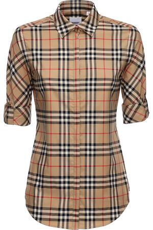 Burberry Checked Stretch Cotton Blend Shirt