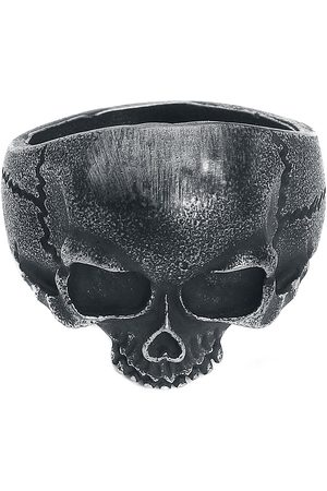 etNox hard and heavy Skull Head Ring silberfarben