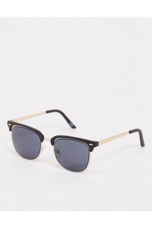 ASOS Goldene Retro-Sonnenbrille mit schwarzem Brauensteg und reinschwarzen Gläsern